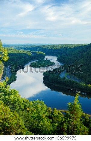 Mountain peak view with blue sky, river and trees from Delaware Water Gap, Pennsylvania. - stock photo