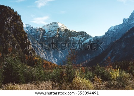 Mountain peak with snow in autumn wilderness. death mountain, called in austria totes gebirge near almsee, salzkammergut