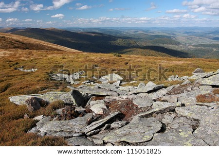 Mountain peak with stones and yellow grass