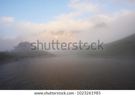 mountain peaks at passo rolle in italy