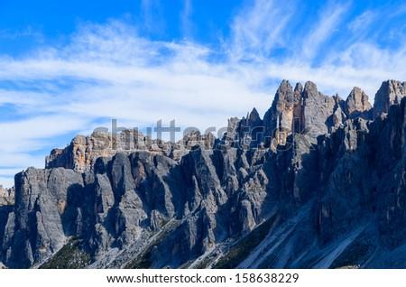 Mountain peaks near Passo Giau - Dolomites, Italy, Europe - stock photo