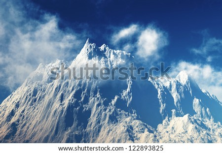 mountain peaks with down clouds on blue sky - stock photo