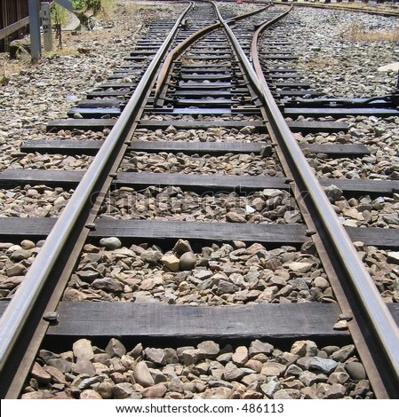 Mountain Railroad Tracks Junction -- vintage Japanese built narrow gauge - stock photo