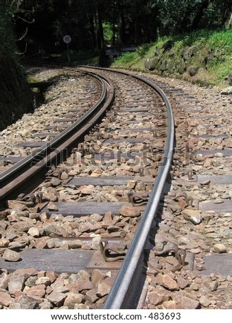 Mountain Railroad Tracks -- vintage Japanese built narrow gauge - stock photo