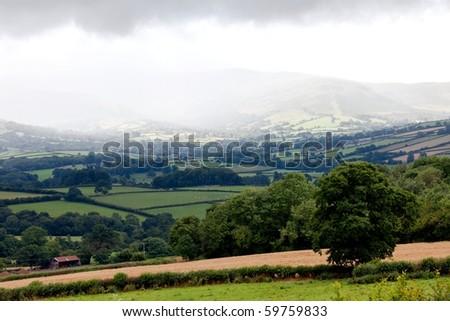 Mountain rain in Brecon Beacons National Park Wales UK - stock photo