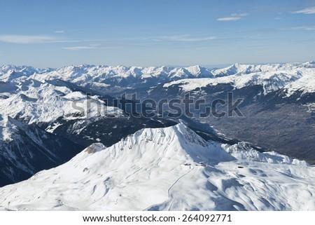 Mountain range aerial view Winter Alpine landscape - stock photo