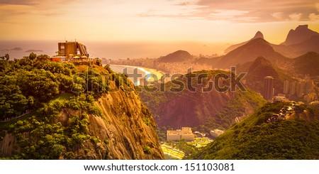 Mountain range at dusk, Sugarloaf Mountain, Guanabara Bay, Rio De Janeiro, Brazil - stock photo