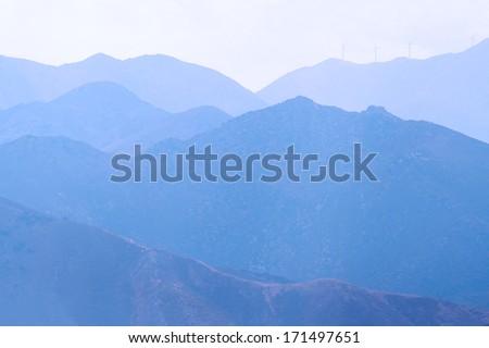 Mountain range in fog, Crete Island, Greece - stock photo