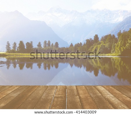 Mountain Range Lake Splendor Tranquil Nature Concept - stock photo