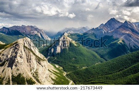 Mountain range landscape view in Jasper NP, Rocky Mountains, Canada - stock photo