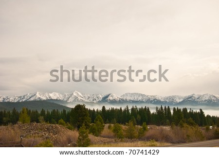 Mountain range near Baker City, Oregon - stock photo