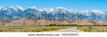 Mountain range of Sierra Nevadas and Alabama hills in central California. - stock photo