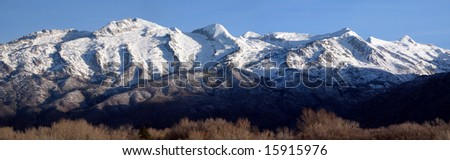 Mountain range panorama - stock photo
