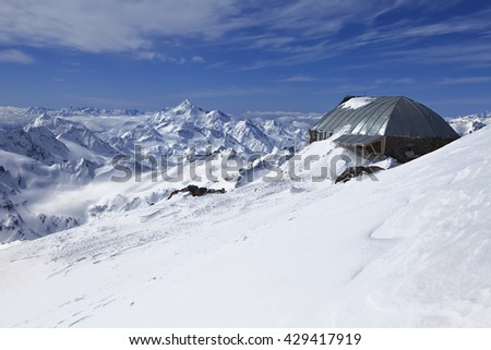 Mountain range. The Caucasian ridge. View from Elbrus