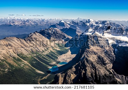 Mountain range view from Mt Temple, Banff NP, Rocky Mountains, Alberta, Canada - stock photo