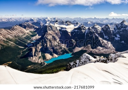 Mountain range view from Mt Temple with Moraine lake, Banff, Rocky Mountains, Alberta, Canada - stock photo