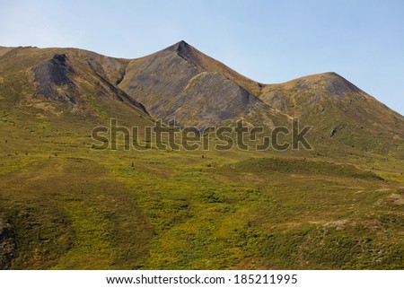 Mountain range with dense bug brush tundra vegetation in Tombstone Territorial Park near Dempster Highway north of Dawson City, Yukon Territory, Canada - stock photo