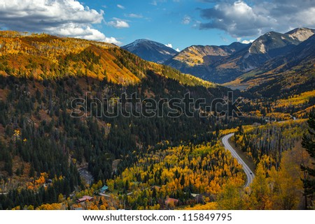 Mountain range with Fall color in Colorado - stock photo