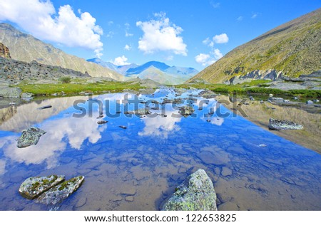 Mountain  Range with  its  Reflection in the Glacial Lake, altai, siberia, Russia - stock photo