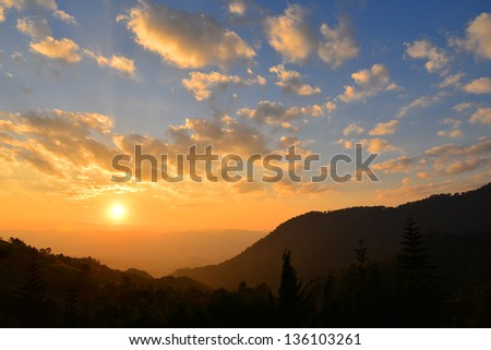 Mountain Range with Sunset - stock photo