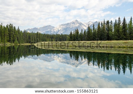 Mountain reflection in motionless water