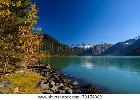 Mountain reflection on Cheakamus Lake at fall. - stock photo