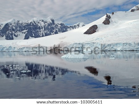 Mountain reflections in the water of the Neumaier Channel in the Antarctic Peninsula