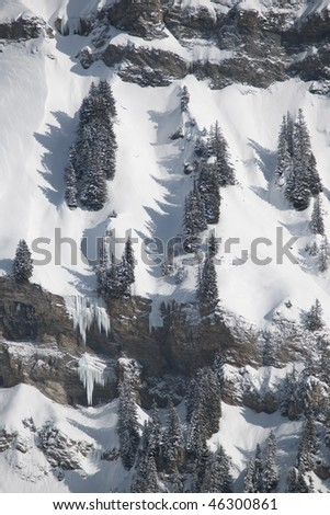 Mountain ridge and view of the Beaufortain under snow, Savoie, Areches, France, Alps