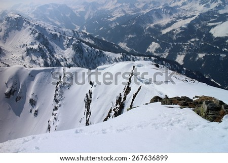 Mountain ridge between Gasselhohe and Rippetegg, Austria - stock photo