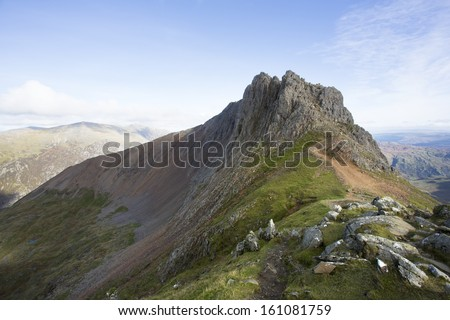 mountain ridge view - crib goch, snowdonia - stock photo
