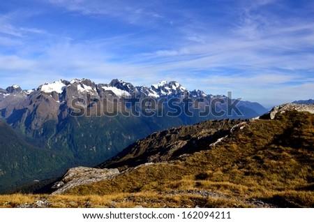 Mountain Ridge with Snow, Routeburn Track - stock photo