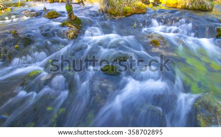 Mountain river background with small waterfalls in tropical forest. Clean blue water flows on cascades of jiuzhaigo park in China  - stock photo
