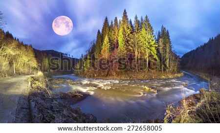 Mountain River Black Cheremosh about Verhovina fast flowing and rocky rapids, Carpathian region - early spring. Ecologically clean water, wild mountains around amid beech and spruce forests and stones - stock photo