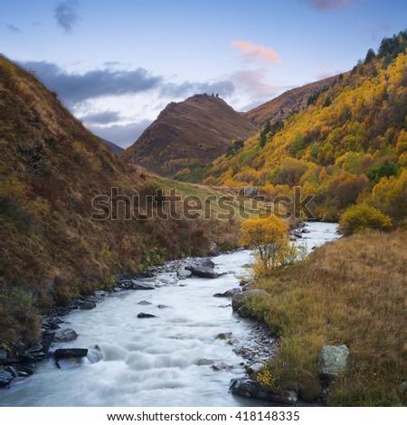 Mountain River. Evening landscape. Autumn. Community Ushguli. Inguri River. Caucasus, Georgia, Zemo Svaneti - stock photo