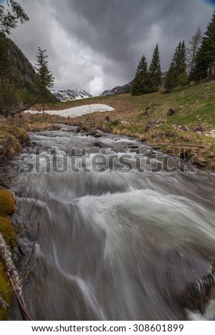 Mountain river flowing through the green forest - stock photo