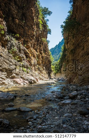 Mountain river gorge near Panta Vrexei in Evritania in Greece