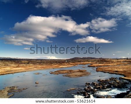 mountain river, Iceland - stock photo