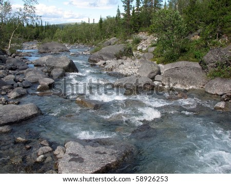 Mountain river in Khibiny, Russia
