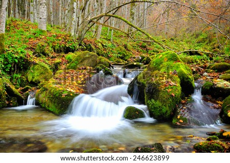 Mountain river in late Autumn - stock photo