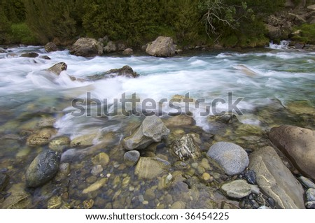 mountain river in Pyrenees, Spain