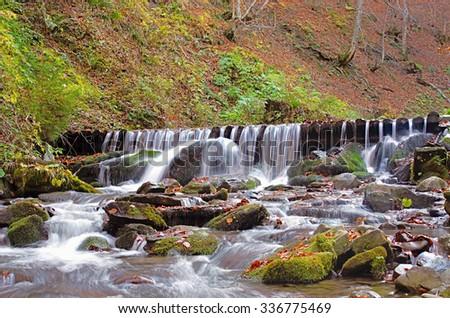 mountain river in the autumn - stock photo