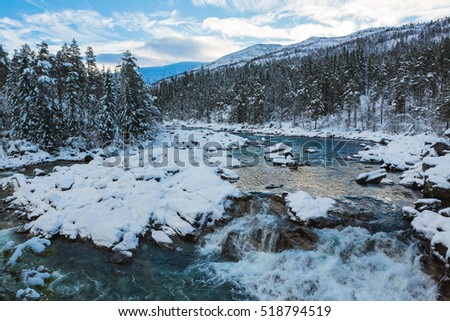 Mountain river in winter. Norway.