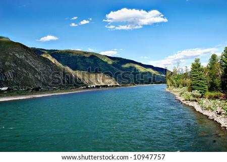 Mountain river Katun, Altai, Russia - stock photo