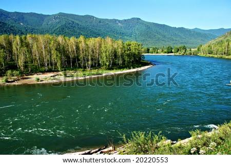 Mountain river Kucherla, landscape, Altai, Russia - stock photo