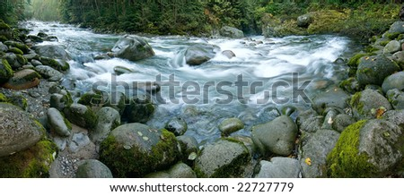 Mountain River. Lynn Valley Regional Park. Canada, BC. - stock photo