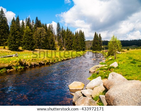 Mountain river on sunny day