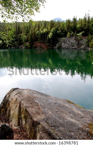 Mountain River & Rock - stock photo