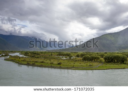Mountain river rural scenery tibet