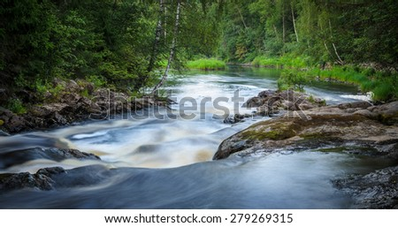 mountain river with rapids in the thick of the forest - stock photo
