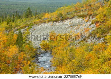 Mountain river with rocky slopes surrounded by bold-colored autumn taiga forest - stock photo